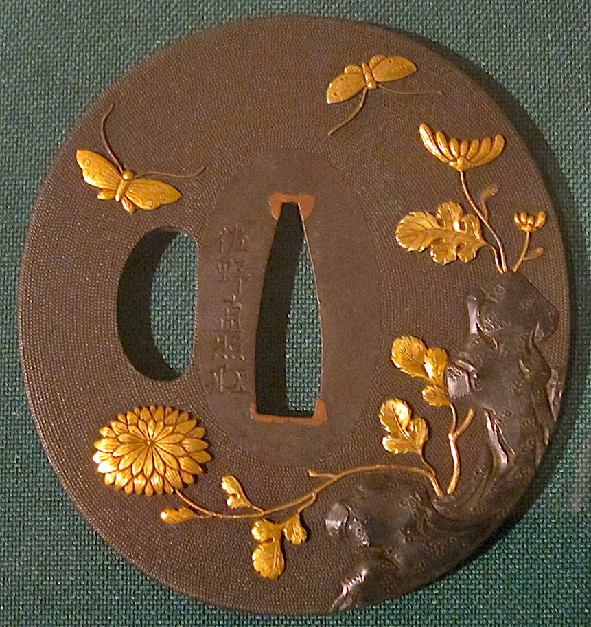 Sword guard with chrysanthemums